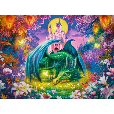 Puzzle  Ravensburger-13258 XXL Teile - Zauberwald des Drachen