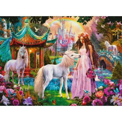 Ravensburger-13617 XXL Teile - Glitter Puzzle - Prinzessin mit Einhorn