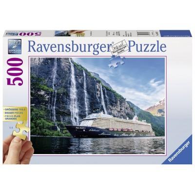 Puzzle Ravensburger-13647 XXL Teile - Mein Schiff 4 im Fjord