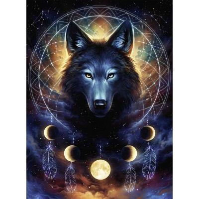 Puzzle Ravensburger-13970 Leuchtender Wolf