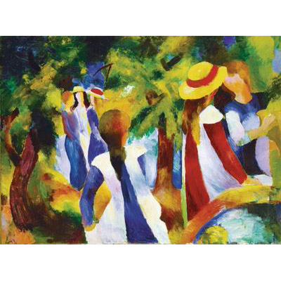 Puzzle  Ravensburger-14024 Macke: Mädchen unter den Bäumen