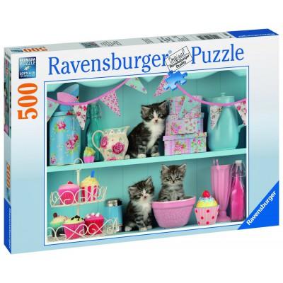Puzzle Ravensburger-14684 Katzen im Cupcakeregal