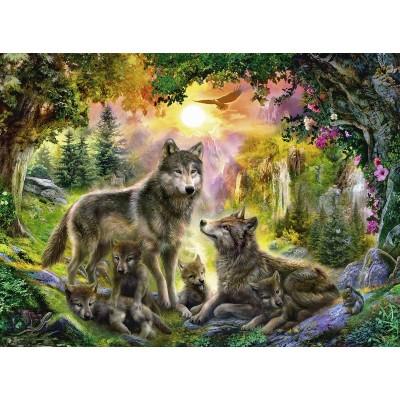 Puzzle Ravensburger-14745 Wolfsfamilie im Sonnenschein