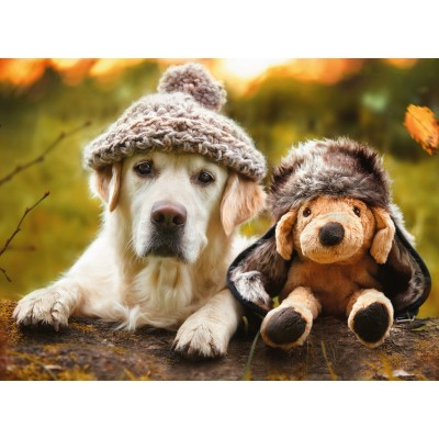 Puzzle  Ravensburger-14783 Hund mit Mütze