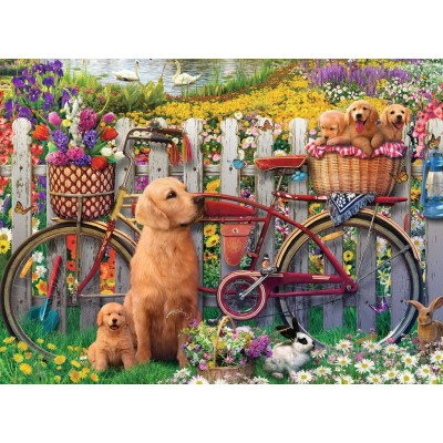 Puzzle  Ravensburger-15036 Süße Hunde im Garten