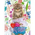 Puzzle  Ravensburger-15037 Kätzchen in einer Tasse
