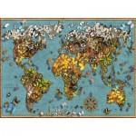 Puzzle  Ravensburger-15043 Schmetterlings-Weltkarte