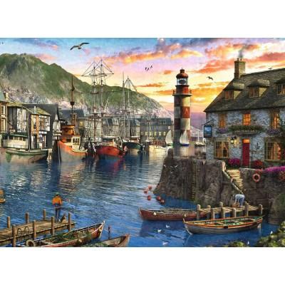 Puzzle Ravensburger-15045 Sonnenaufgang im Hafen