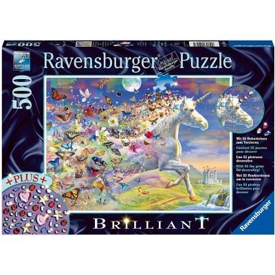 Ravensburger-15046 Brilliant Puzzle - Schmetterling Einhorn