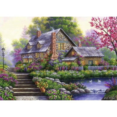Puzzle  Ravensburger-15184 Romantisches Cottage