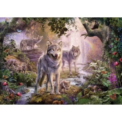 Puzzle Ravensburger-15185 Wolfsfamilie im Sommer