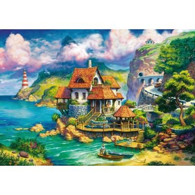 Puzzle  Ravensburger-15273 Cottage auf der Klippe