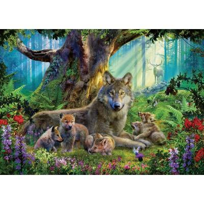 Puzzle  Ravensburger-15987 Familie der Wölfe im Wald