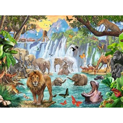 Puzzle  Ravensburger-16461 Wasserfall im Dschungel