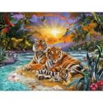 Puzzle  Ravensburger-16624 Tigerfamilie im Sonnenuntergang