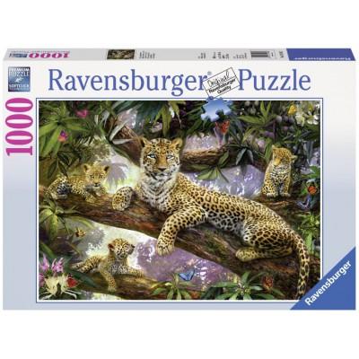 Puzzle  Ravensburger-19148 Die Leopardenmutter und ihre Babys