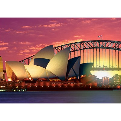 Puzzle Ravensburger-19211 Oper mit Harbour Bridge, Sydney