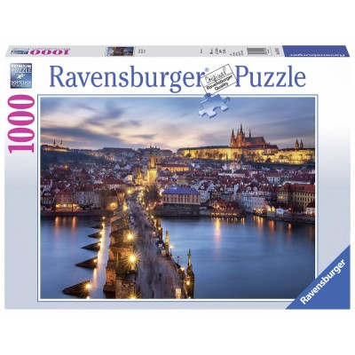 Puzzle  Ravensburger-19740 Prag bei Nacht