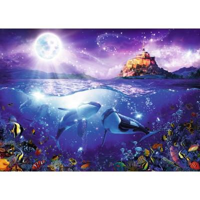Puzzle  Ravensburger-19791 Wale im Mondschein