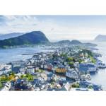Puzzle  Ravensburger-19844 Blik over Ålesund