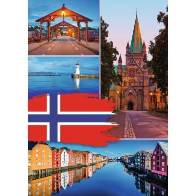 Puzzle  Ravensburger-19845 Trondheim Collage