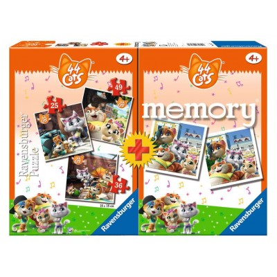 Ravensburger-20607 3 Puzzles + Memory - 44 Cats