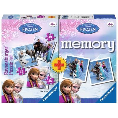 Ravensburger-22311 Frozen - Die Eiskönigin: 3 Puzzles + Memory