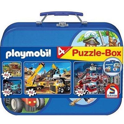 Schmidt-Spiele-55599 Puzzle-Box Playmobil: 4 Puzzle