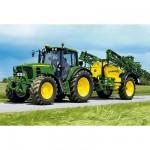 Puzzle  Schmidt-Spiele-55625 John Deere: Traktor 6630 mit Feldspritze