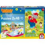 Schmidt-Spiele-56077 2 Puzzles - Benjamin Blümchen: Sommerzeit