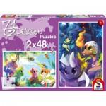 Schmidt-Spiele-56114 2 Puzzles: 7 1/2 Drachen