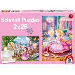 Puzzle  Schmidt-Spiele-56126 Märchenhafte Prinzessinnen