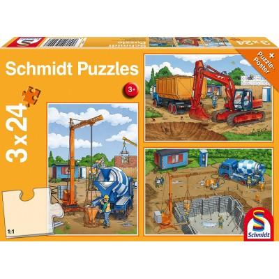 Schmidt-Spiele-56200 3 Puzzles - Auf der Baustelle