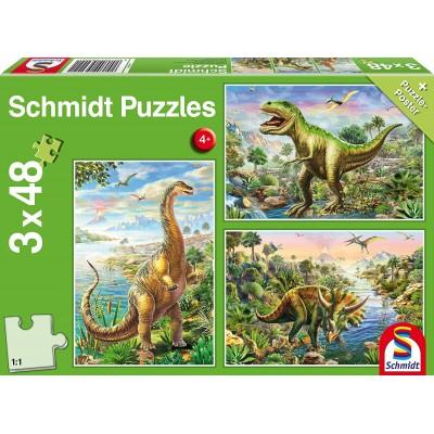 Schmidt-Spiele-56202 3 Puzzles - Abenteuer mit den Dinosauriern