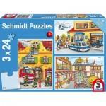 Schmidt-Spiele-56215 3 Puzzles - Feuerwehr und Polizei