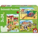 Schmidt-Spiele-56216 3 Puzzles - Auf dem Bauernhof