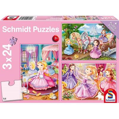 Schmidt-Spiele-56217 3 Puzzles - Märchenhafte Prinzessin