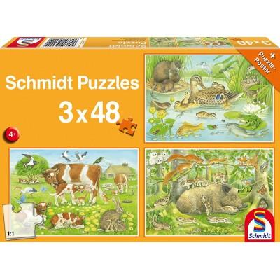 Schmidt-Spiele-56222 3 Puzzles - Tierfamilien