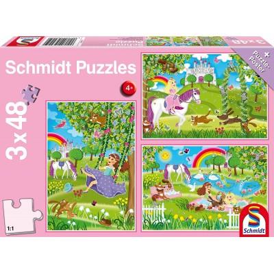 Schmidt-Spiele-56225 3 Puzzles - Prinzessin im Schlossgarten