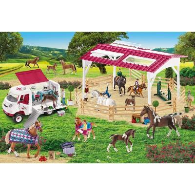Puzzle  Schmidt-Spiele-56240 Reitschule und Tierärztin