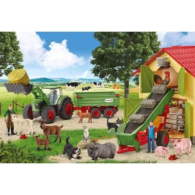 Puzzle  Schmidt-Spiele-56241 Heueinfahrt auf dem Bauernhof