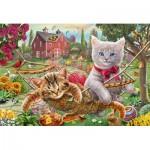 Puzzle  Schmidt-Spiele-56289 Kätzchen im Garten