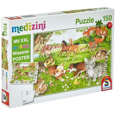 Puzzle  Schmidt-Spiele-56290 So leben Tierkinder