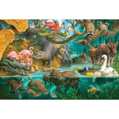 Puzzle  Schmidt-Spiele-56306 Tierfamilien am Ufer