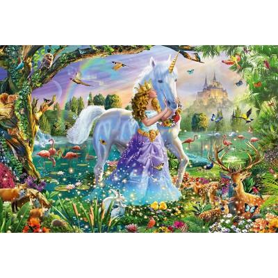 Puzzle  Schmidt-Spiele-56307 Prinzessin mit Einhorn und Schloss