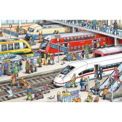 Puzzle Schmidt-Spiele-56328 Am Bahnhof