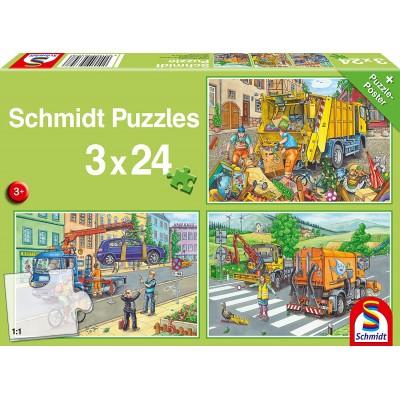 Puzzle  Schmidt-Spiele-56357 Müllwagen, Abschleppauto und Kehrmaschine (3x24 Teile)