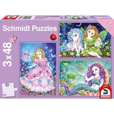 Puzzle  Schmidt-Spiele-56376 Prinzessin, Fee & Meerjungfrau (3x48 Teile)