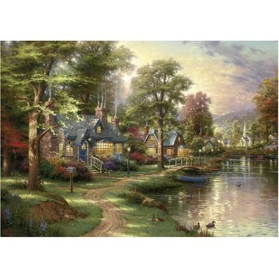 Puzzle  Schmidt-Spiele-57452 Thomas Kinkade: Am See