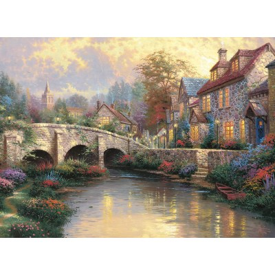 Puzzle  Schmidt-Spiele-57466 Thomas Kinkade: Bei der alten Brücke